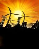 Fond vert renouvelable d'énergie Photographie stock