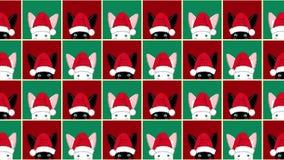 Fond vert rouge de lapin de Noël blanc noir d'échiquier banque de vidéos
