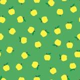 Fond vert sans couture avec les pommes jaunes Fond saisonnier automnal, école Configuration pour la conception Illustration Libre de Droits