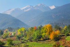 Fond vibrant de panorama d'automne avec les arbres verts, rouges, jaunes colorés et les crêtes de hautes montagnes photos stock
