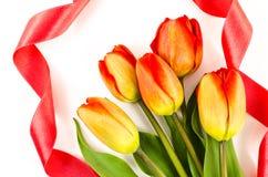 Fond vide de carte postale avec les fleurs colorées et le ruban rouge Images stock