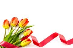 Fond vide de carte postale avec les fleurs colorées et le ruban rouge Image libre de droits