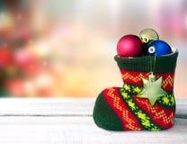 Fond vide de l'espace de chaussette de décoration de vacances de Noël Images libres de droits