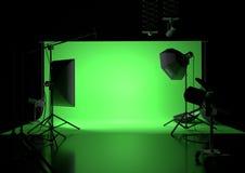 Fond vide de studio d'écran vert Photos stock
