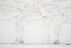 Fond vide de vintage abstrait Photo de texture de mur de briques peinte par blanc sale Surface de brickwall lavée par blanc image stock