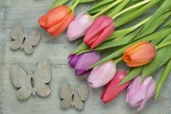 Fond vide gris en bois de Pâques de l'espace de copie avec les tulipes colorées Image stock