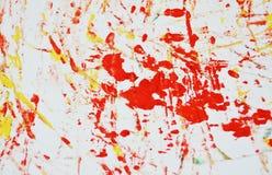 Fond vif blanc orange rouge jaune de peinture de tache d'or, fond d'abrégé sur peinture d'acrylique d'aquarelle photographie stock libre de droits