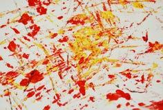 Fond vif blanc rouge de peinture de tache d'or, fond d'abrégé sur peinture d'acrylique d'aquarelle image stock