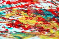 Fond vif phosphorescent rouge orange bleu de peinture de tache, fond d'abrégé sur peinture d'acrylique d'aquarelle image stock