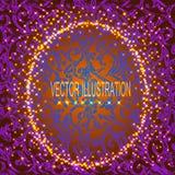 Fond violet avec le modèle ornemental et le cadre rond Illustration de vecteur Images stock