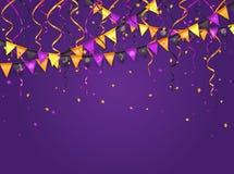Fond violet de Halloween avec des fanions et des flammes Image libre de droits