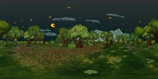 Fond virtuel de reaility de panorama de forêt la nuit images libres de droits