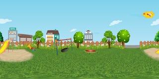 Fond virtuel de reaility de panorama de terrain de jeu d'enfants dans le jour normal image libre de droits
