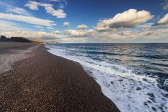 Beach in Sicily. Fondachello beach in Sicily, Italy stock photography