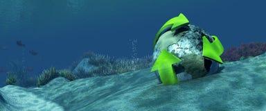 fondale marino dell'illustrazione 3d con un globo Fotografia Stock Libera da Diritti