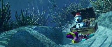 fondale marino dell'illustrazione 3d e oggetti di Natale Immagini Stock