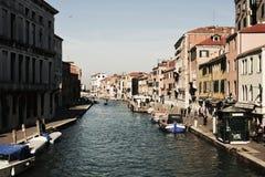 Fondamenta de Canaregio в Венеции, Италии, Европе, винтажных оттенках Стоковое фото RF