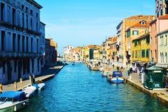 Fondamenta de Canaregio och fartyg, Venedig, Italien, Europa arkivbilder