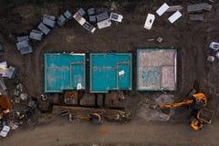 Fondamenti di nuove case da una vista aerea di occhio di uccelli immagini stock
