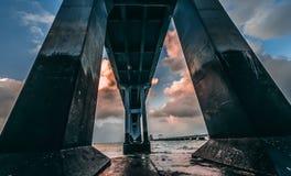 Fondamento concreto del ponte Fotografie Stock Libere da Diritti