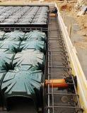 Fondamento della Camera con i Iglus del radon Fotografia Stock