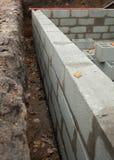 Fondamento della parete del blocco per la nuova casa Fotografia Stock Libera da Diritti