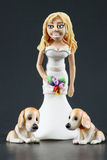 Fondant Bride and Dogs Wedding Cake Topper Stock Photography