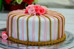Fondant cake for birthday. Beautiful and delicious fondant cake for birthday royalty free stock photography