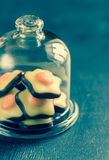 Fondant candies under the glass dome Stock Photos