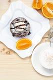 Fondant chaud de gâteau de chocolat de dessert Photo libre de droits
