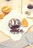 Fondant chaud de gâteau de chocolat de dessert Image libre de droits