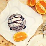 Fondant chaud de gâteau de chocolat de dessert Images libres de droits