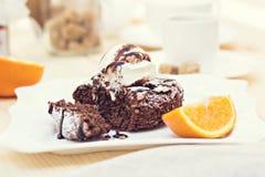 Fondant chaud de gâteau de chocolat de dessert Photo stock