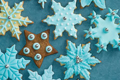 Fondant covered Christmas cookies Stock Images