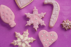 Fondant covered Christmas cookies Royalty Free Stock Photos
