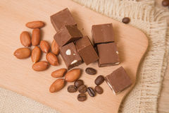 Fondant de chocolat avec des écrous Images stock