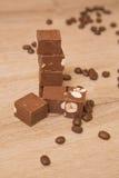 Fondant de chocolat avec des écrous Photographie stock libre de droits