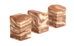 Fondant de chocolat et de vanille sur un fond blanc images stock