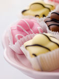 Fondant Fancy Cakes. Close up of Fondant Fancy Cakes royalty free stock photos