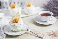 Fondant lava cake with strawberries jam. Selective focus. Restaurant dessert menu background royalty free stock images