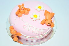 Fondantjecake voor jonge geitjesverjaardagen royalty-vrije stock afbeelding