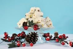 Fondente di cioccolato tradizionale della confetteria di natale bianco di festa di Natale Fotografie Stock Libere da Diritti