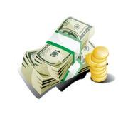 Fondi e monete Dolar Immagine Stock