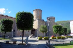 Baronial Caetani Castle built in 1319 in Fondi, Italy. Fondi, Italy - 10 june 2013: Baronial Caetani Castle built in 1319. Fondi`s urban core is located in the Royalty Free Stock Photos