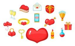 Fondness icons set, cartoon style. Fondness icons set. Cartoon set of 15 fondness vector icons for web isolated on white background stock illustration