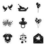 Fondness icons set, simple style. Fondness icons set. Simple set of 9 fondness vector icons for web isolated on white background stock illustration