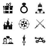Fondness icons set, simple style. Fondness icons set. Simple set of 9 fondness vector icons for web isolated on white background vector illustration