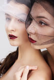 fondness Två kvinnlig skyler in att omfamna royaltyfria bilder