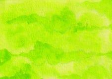 Fondo ácido verde claro de la tinta del extracto exhausto de la acuarela de la mano fotografía de archivo libre de regalías