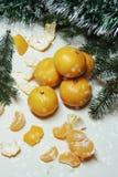 Fondo, árbol y mandarinas de la Navidad Imagen de archivo libre de regalías